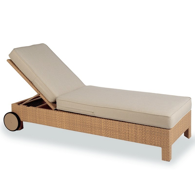 Kettal delta outdoor wicker patio chaise lounge with for Chaise lounge cushion outdoor