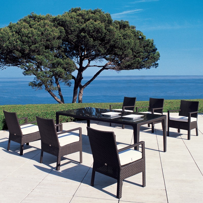 Delta Wicker Dining Patio Set 7 piece