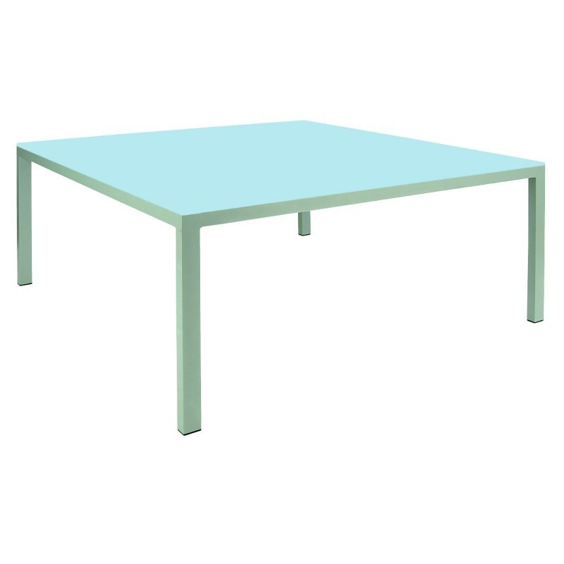 Kore square outdoor dining table with glass top 43726 for Outdoor dining table glass top