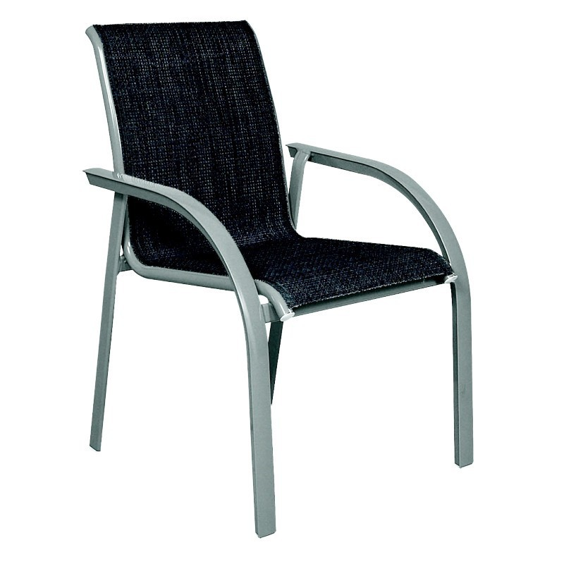 White Metal Patio Chairs: Kettal Singo Sling Low Back Outdoor Dining Armchair