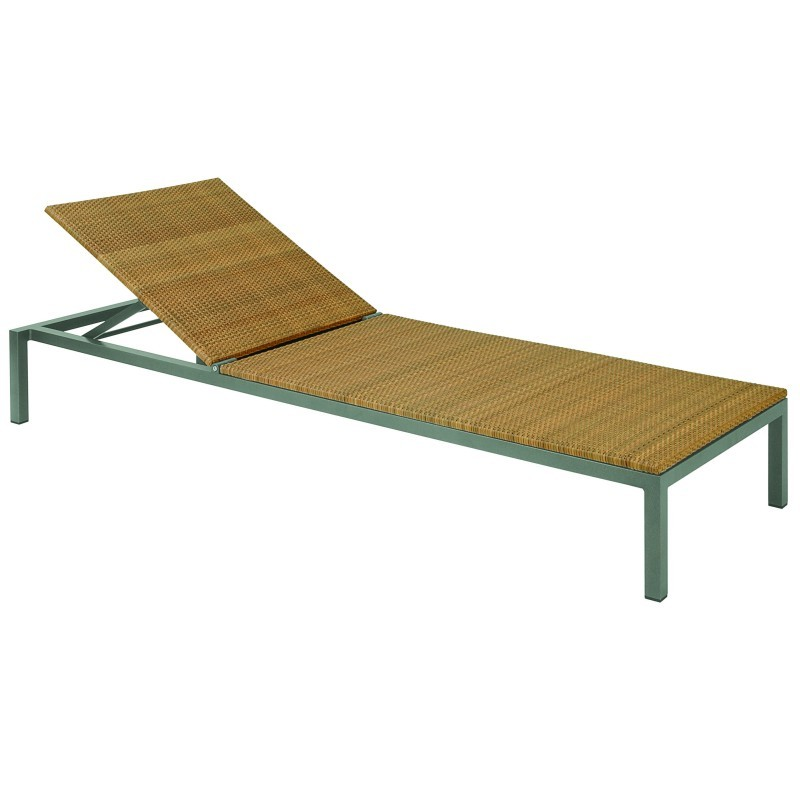 Via aluminum wicker chaise lounge gk1260 for Aluminum outdoor chaise lounge