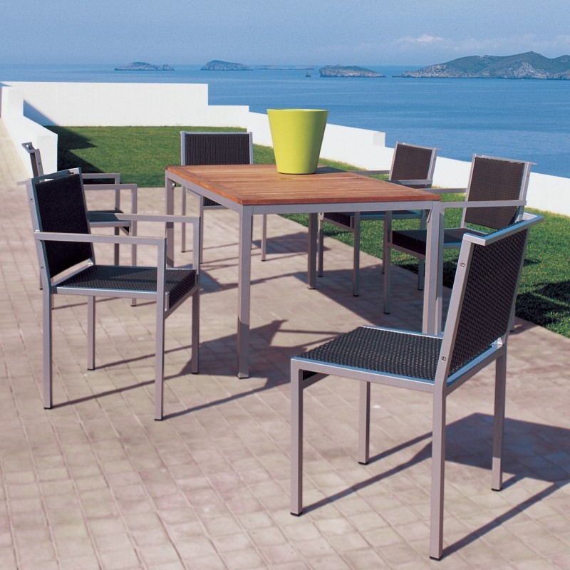 Via Outdoor Wicker Dining Set 7 Piece w/ Teak Table