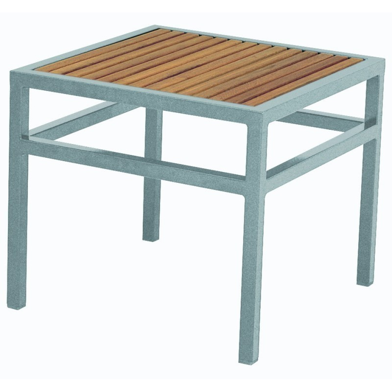 Via Square Outdoor Side Table w/ Teak Top : White Patio Furniture
