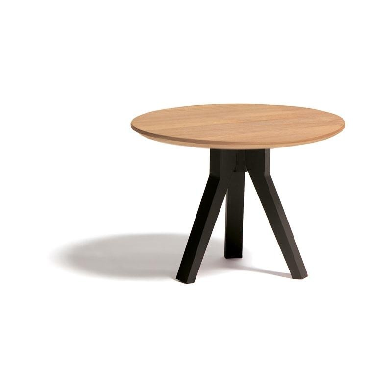 Vieques Round Modern Outdoor Side Table 24 inch with Teak Top : Coffee Tables