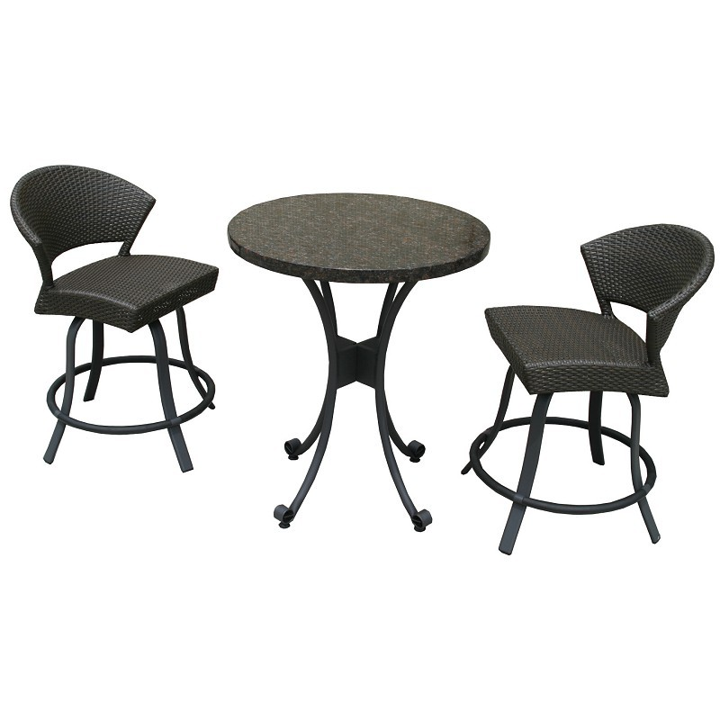 Highlites 3 Piece Bar Height Resin Wicker Bistro Set