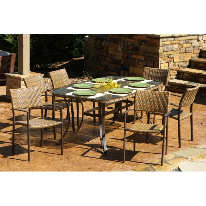 Maracay Resin Wicker 7 Piece Outdoor Dining Set