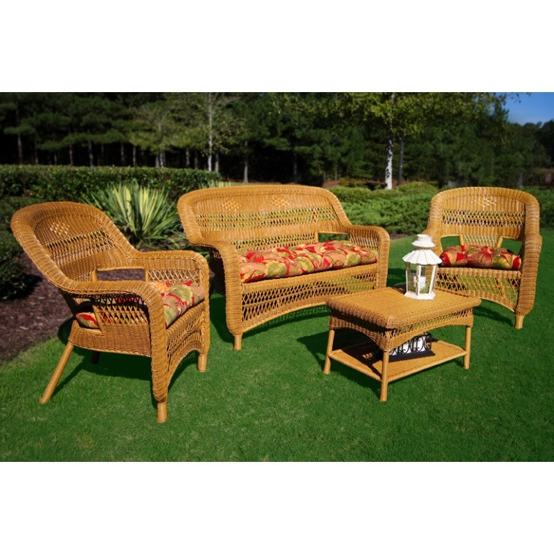 Portside Amber Resin Wicker Seating Set 4 Piece