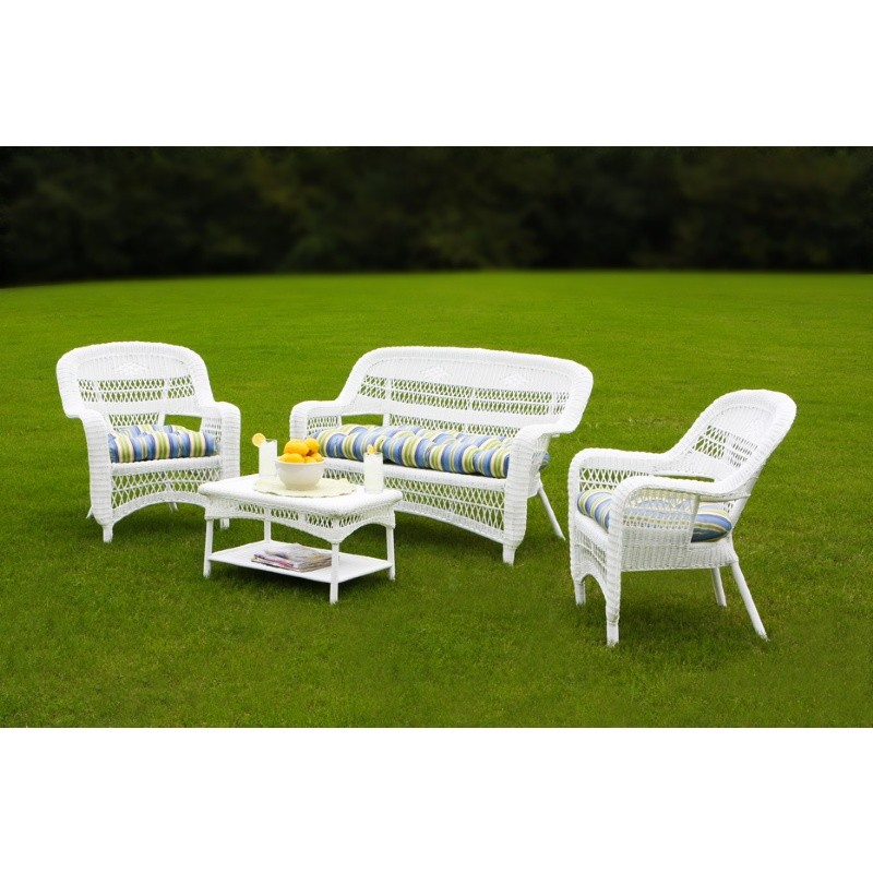 Outdoor Furniture: Outdoor Deep Seating Sets: Portside Coastal White 4-Piece Garden Seating Set