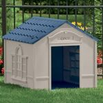 Large Dog House - Taupe with Blue Roof