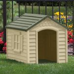 Medium Dog House - Tan with Green Roof