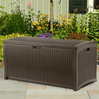 Outdoor Resin Wicker Storage Box 73 Gallons SUDBW7300