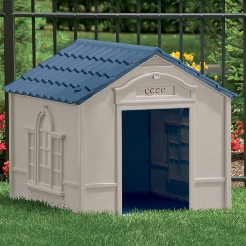 Large Dog House - Taupe with Blue Roof SUDH350