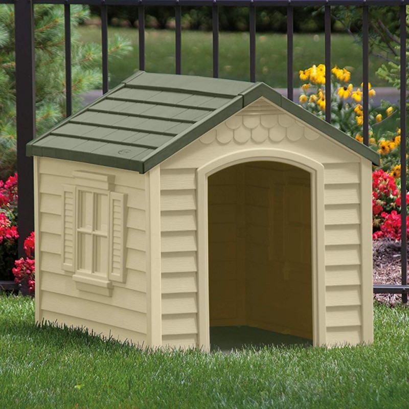 Medium dog house tan with green roof for Dog houses for medium dogs