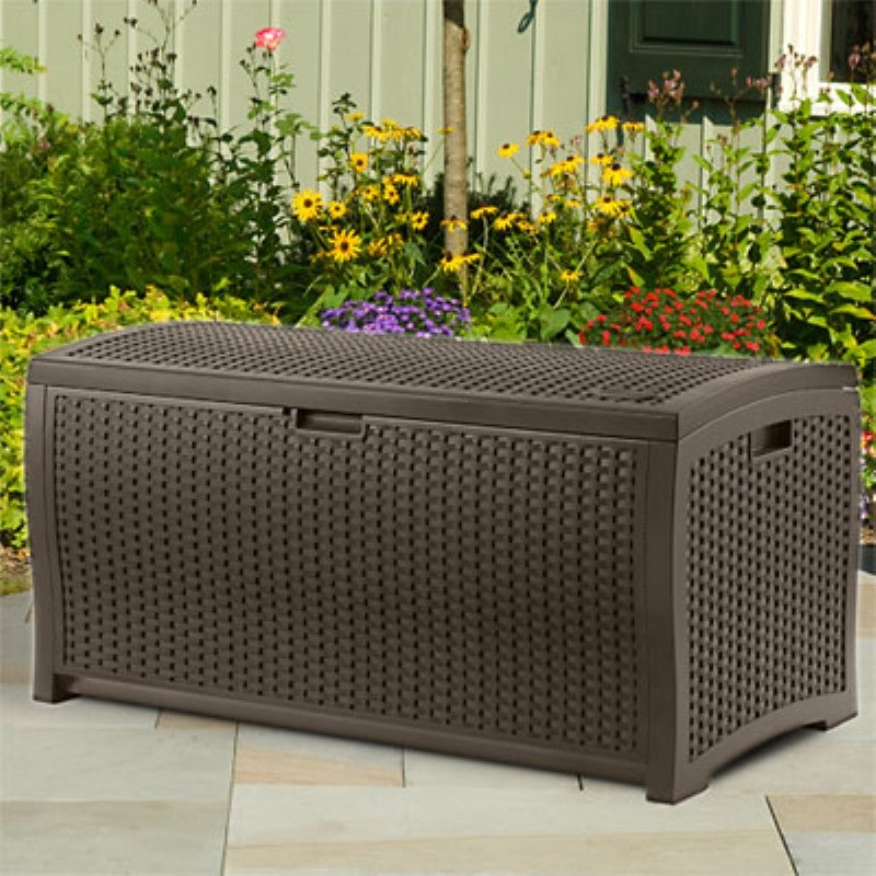 Outdoor Deck Boxes, Storage Boxes: Outdoor Resin Wicker Deck Box 73 Gallons