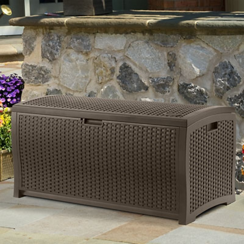 Outdoor Deck Boxes, Storage Boxes: Outdoor Resin Wicker Deck Box 99 Gallons
