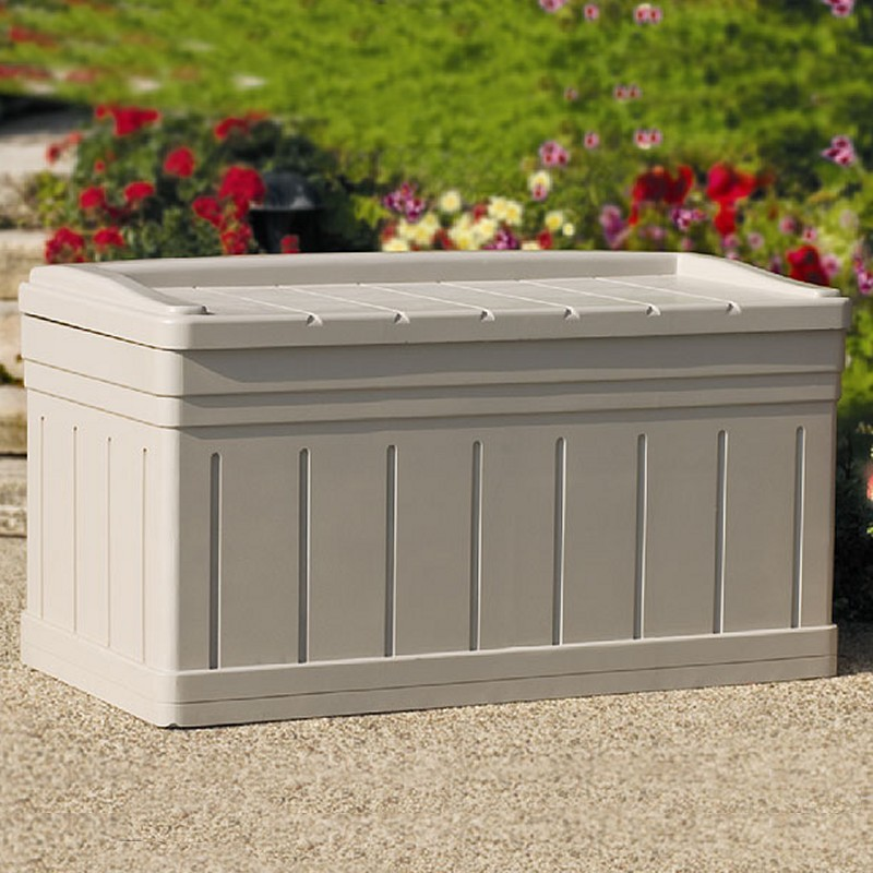Log Cabin Sheds: Outdoor Deck Box 129 Gallons with Seat