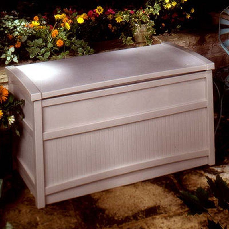 Log Cabin Sheds: Outdoor Deck Box 50 Gallons Taupe