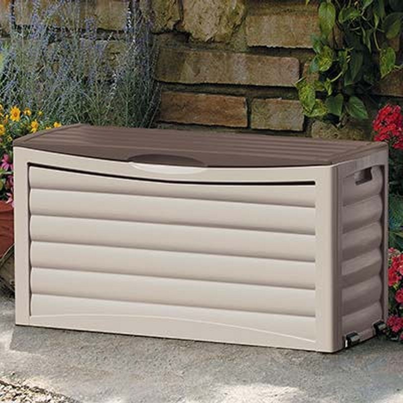 Outdoor Storage Box: Deck Box 63 Gallons Taupe