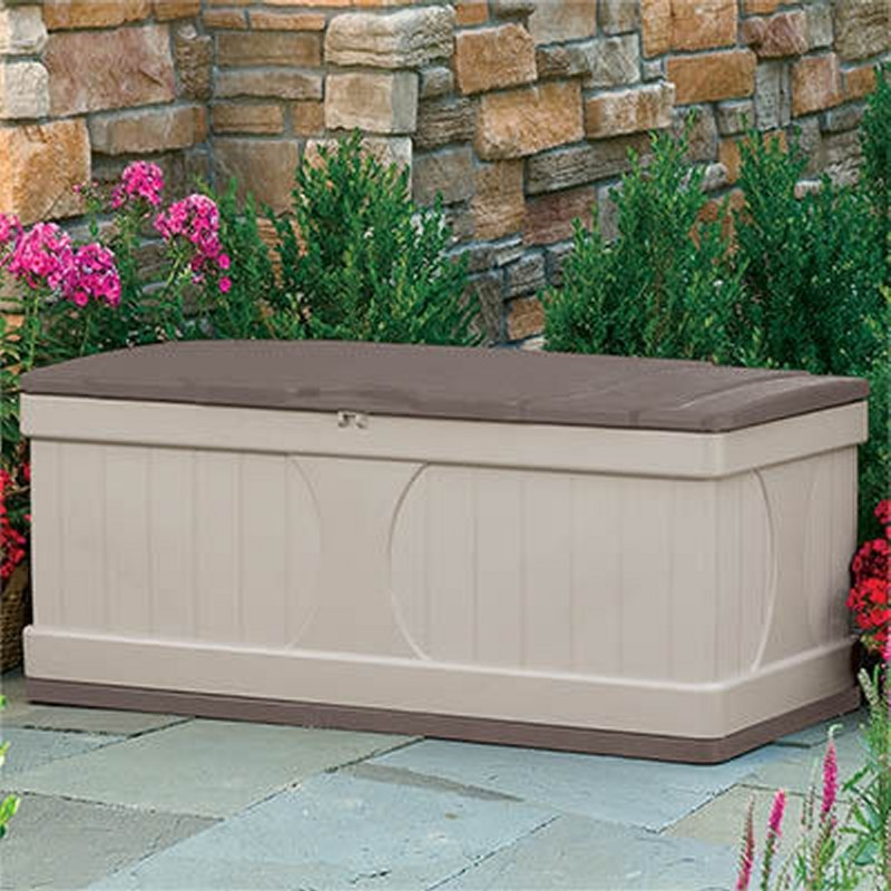 Outdoor Storage Box: Deck Box 99 Gallons w/Bronze Lid