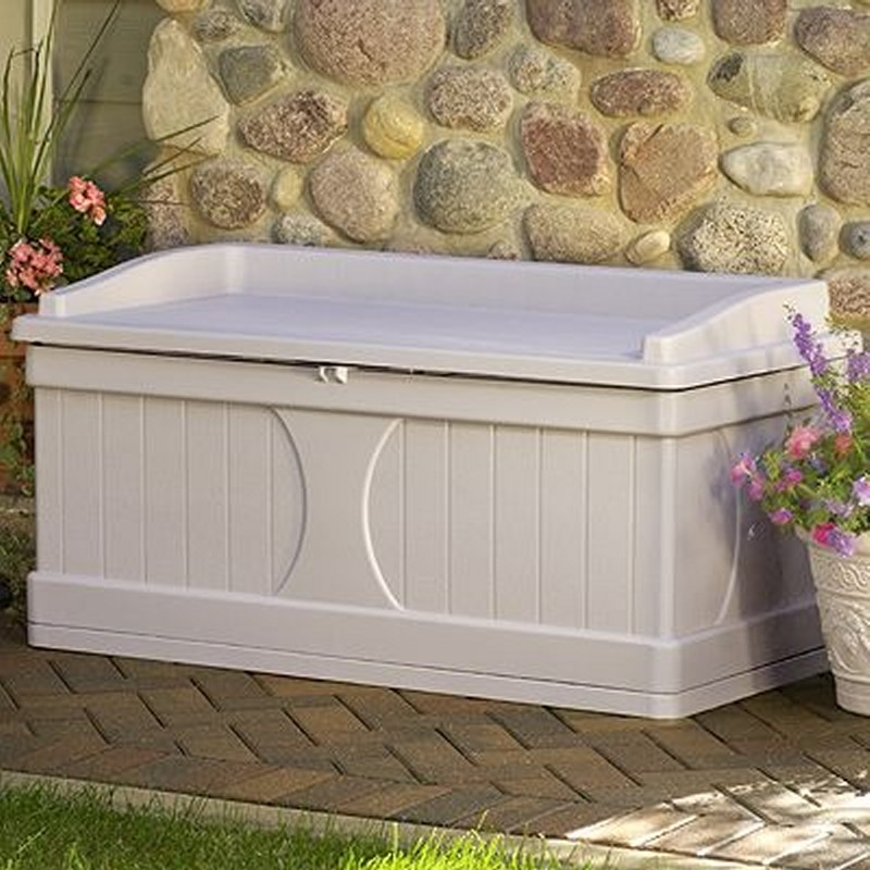 Outdoor Storage Box: Deck Box with Seat 99 Gallons