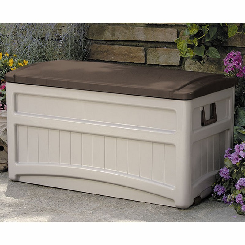 Log Cabin Sheds: Outdoor Deck Box 73 Gallons with Bronze lid