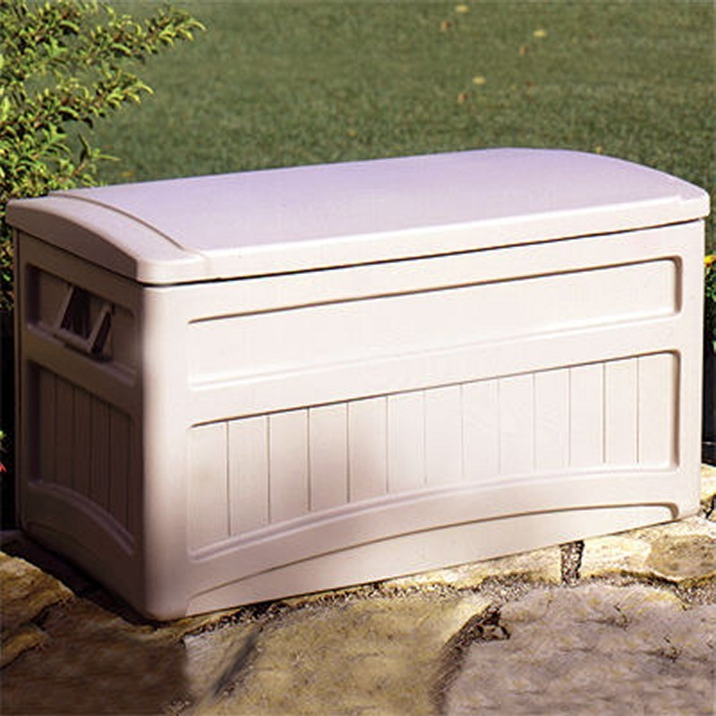 Log Cabin Sheds: Outdoor Deck Box 73 Gallons with wheels