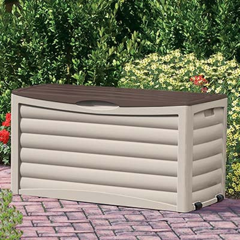 Log Cabin Sheds: Outdoor Deck Box 83 Gallons with Bronze Lid