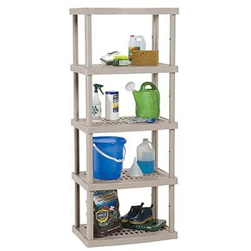 five shelf open storage shelves taupe sucs500. Black Bedroom Furniture Sets. Home Design Ideas