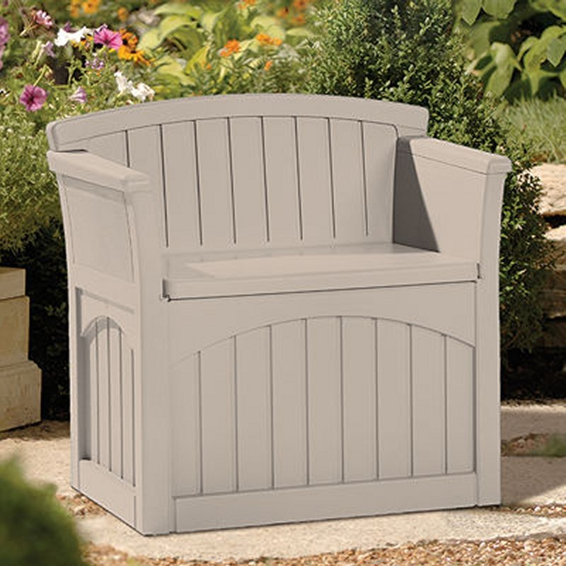 Log Cabin Sheds: Outdoor Bench Deck Box 31 Gallons