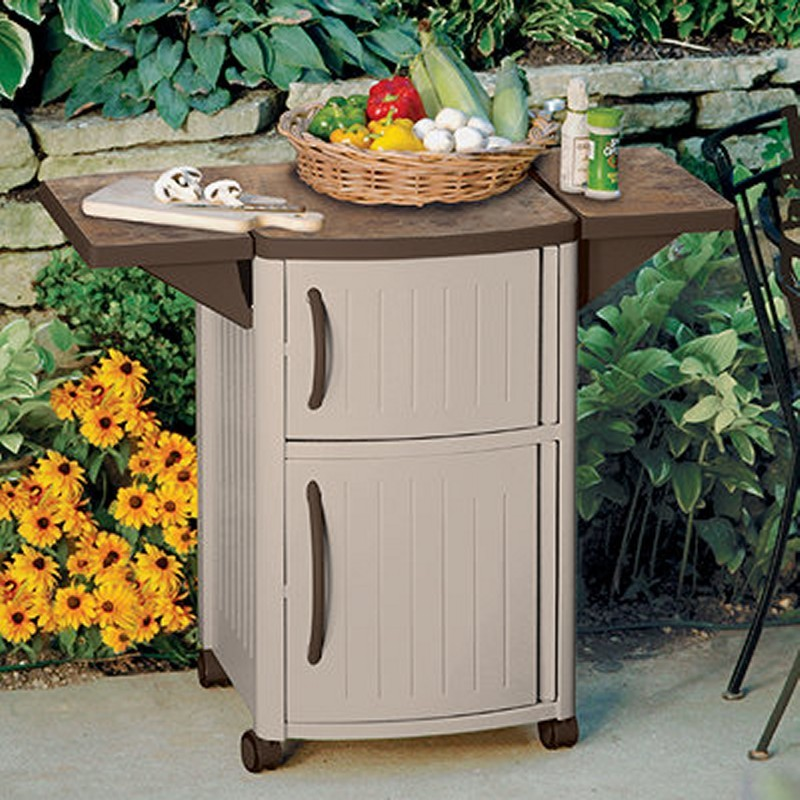 Outdoor Cabinets, PVC, Plastic: Pool Patio Prep & Serving Station Cabinet