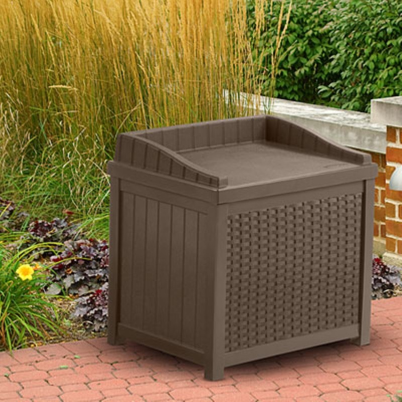 Deck Boxes: Resin Wicker Deck Box and Seat 22 Gallons