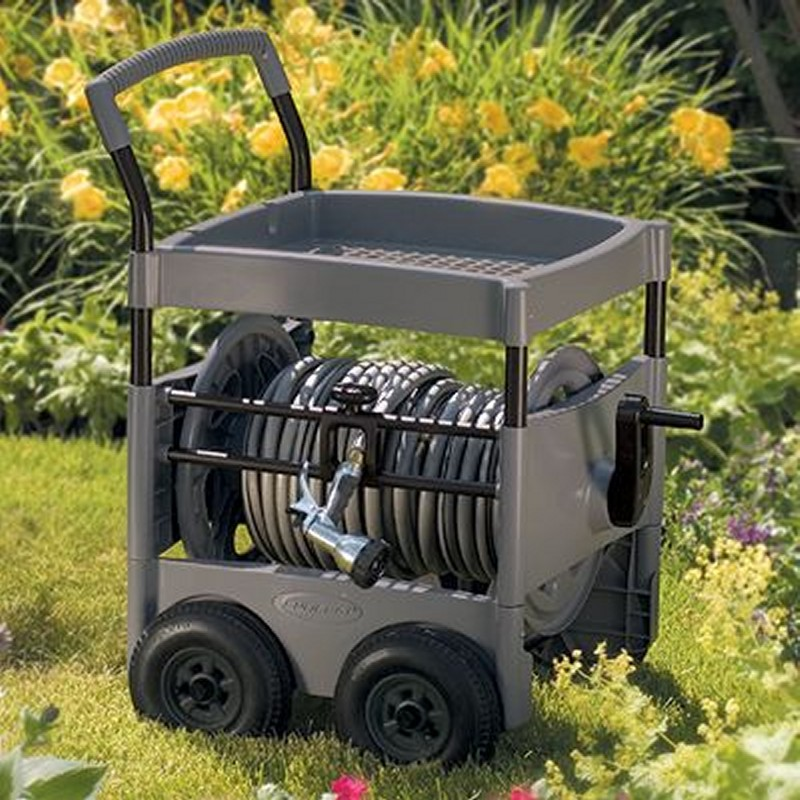 Gracious Living 3 Drawer Resin Storage Cart: Garden Hose Reel Cart