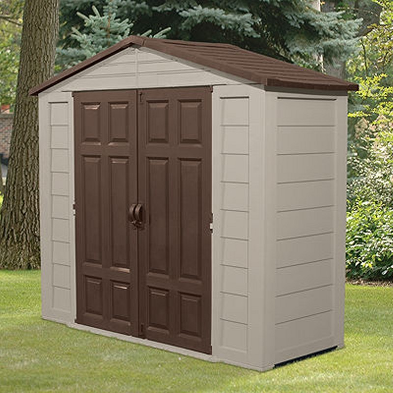 Poll Sheds: PVC Outdoor Storage Shed 129 Cubic Feet