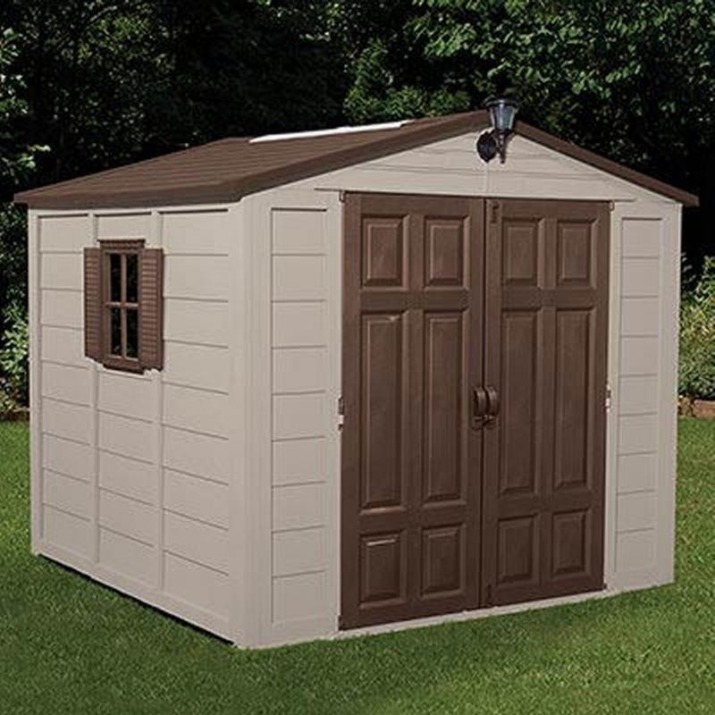 Storage building shed 352 cubic feet with windows sua01b02 for Garden shed on decking