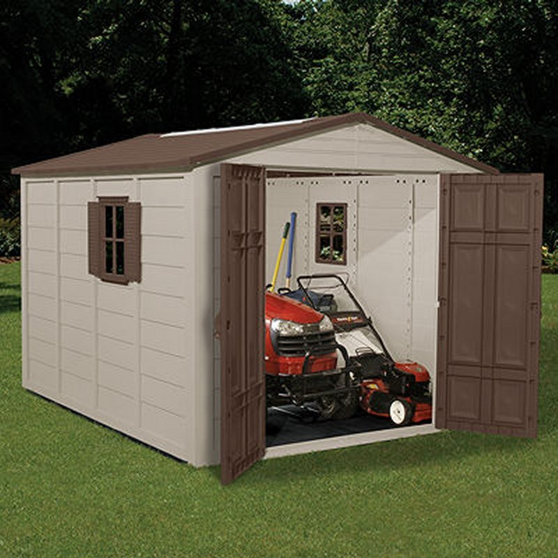 Poll Sheds: PVC Storage Building Shed 464 Cubic Feet with Windows