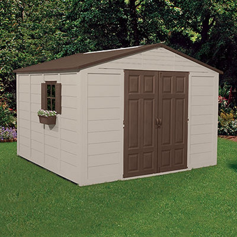 Storage building shed 625 cubic feet with windows for Garden shed on decking