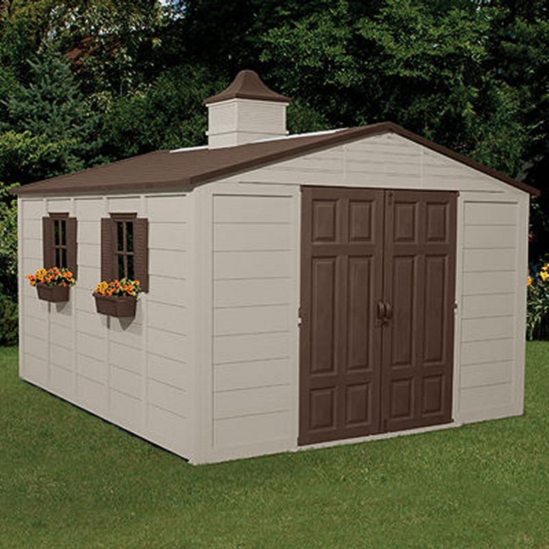 Poll Sheds: PVC Storage Building Shed 775 Cubic Feet with Windows
