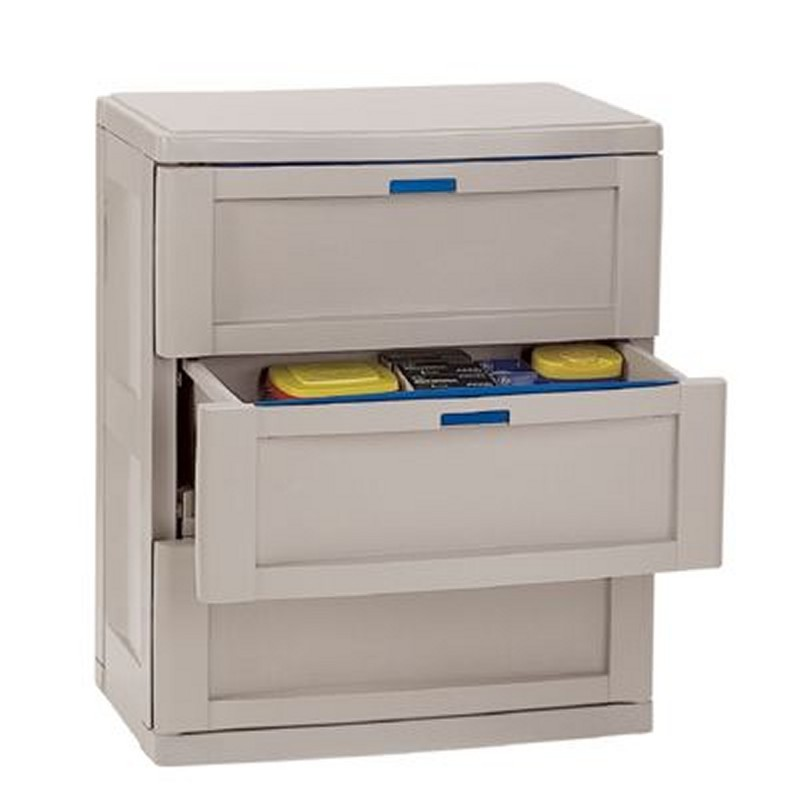 Outdoor Extra Large Plastic Storage Containers: Three Drawer Deck Cabinet Taupe - Blue