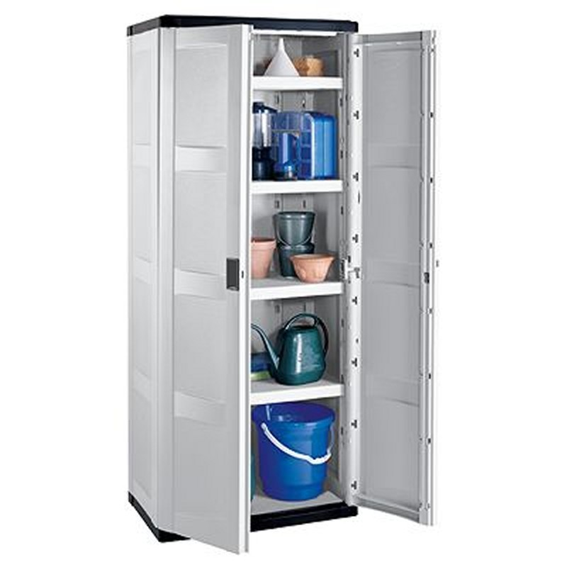 Outdoor Cabinets, PVC, Plastic: Outdoor Utility Storage Cabinet with 4 Shelves Gray - Black