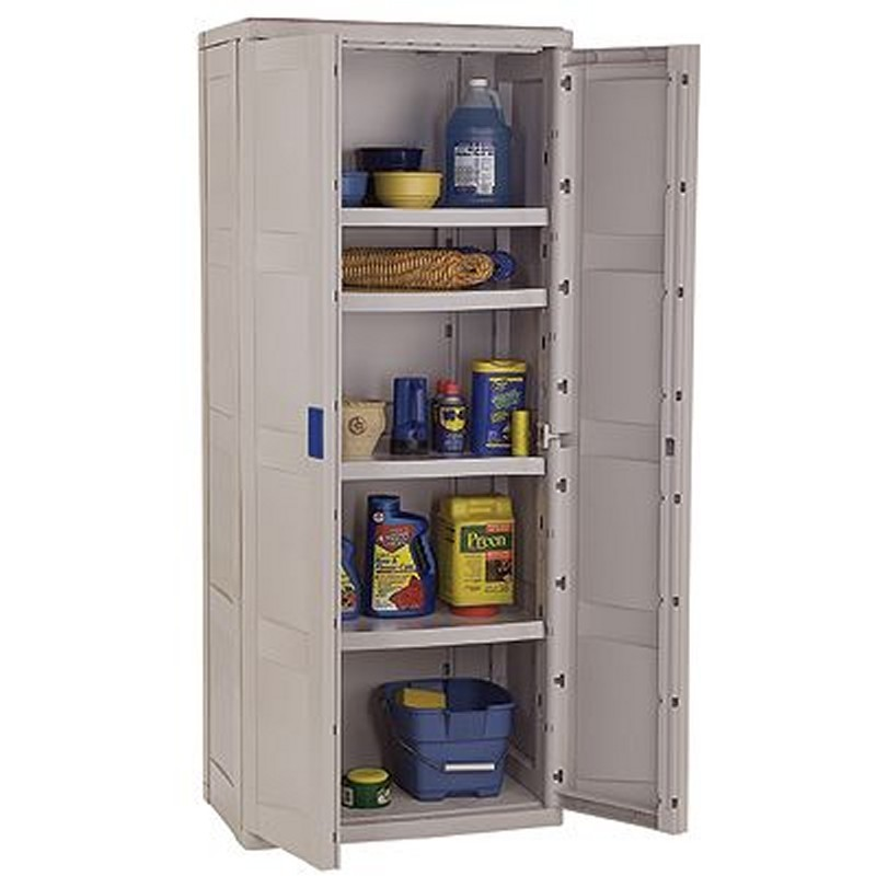 Outdoor Cabinets, PVC, Plastic: Outdoor Utility Storage Cabinet with 4 Shelves Taupe - Blue