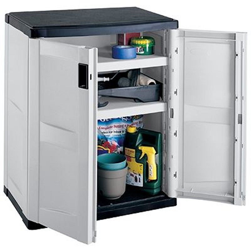 Outdoor Cabinets, PVC, Plastic: Outdoor Storage Cabinet with 2 Shelves Gray - Black