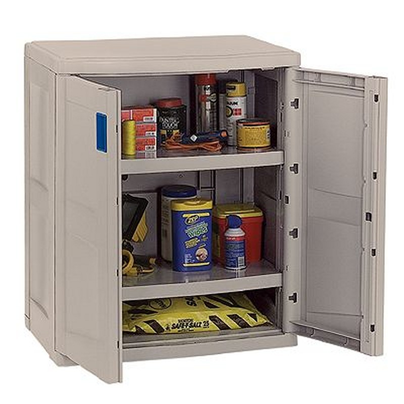 Deck Storage Cabinets, Shelves, Garage, Backyard: Deck Storage Cabinet with 2 Shelves Taupe - Blue