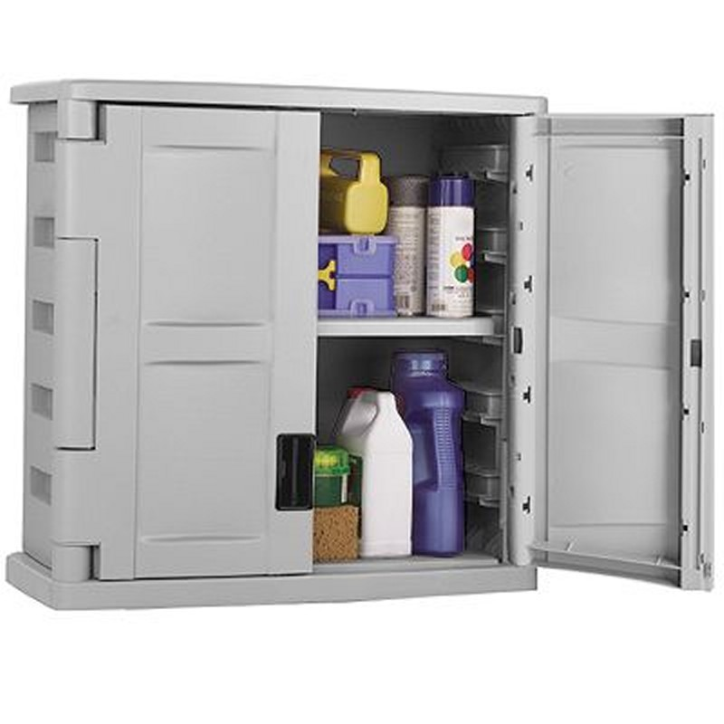 Outdoor Utility Storage Cabinet PVC Gray - Black : Outdoor Cabinets