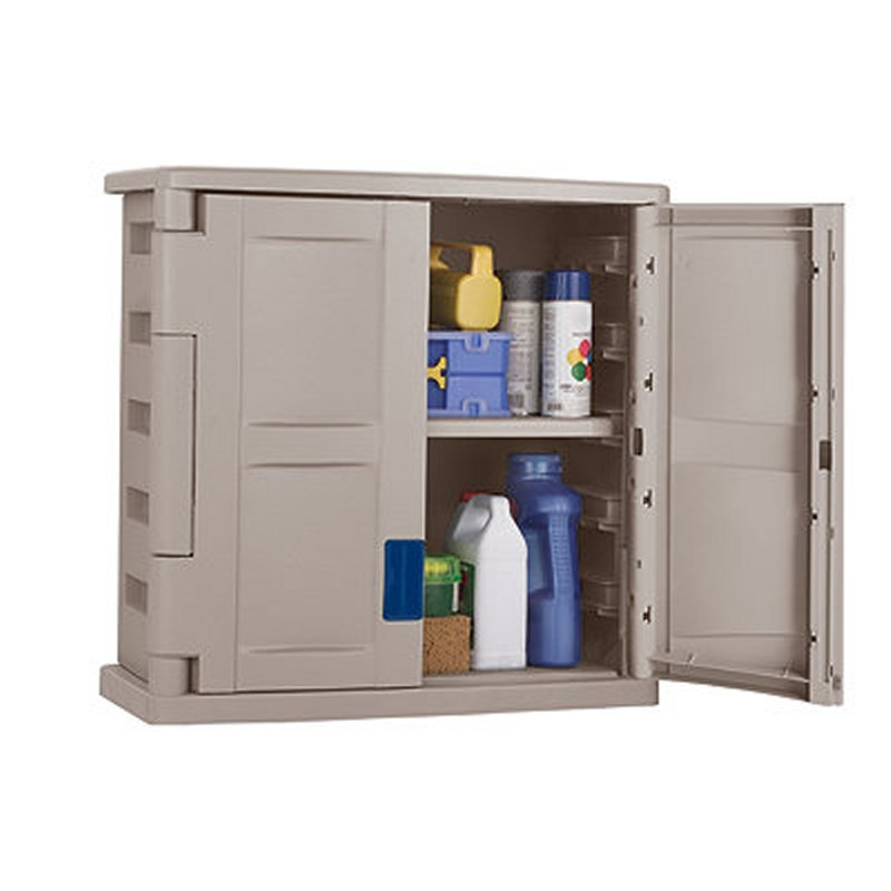 Outdoor Utility Storage Cabinet PVC Taupe - Blue : Outdoor Cabinets