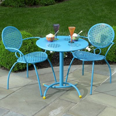 High Quality Wrought Iron Bistro Set 3 Pcs   Margarita Blue