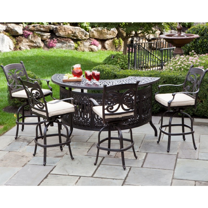 Farfalla Cast Aluminum Patio Bar High Party Set 5 Piece AL 22 1107 AW CozyDays