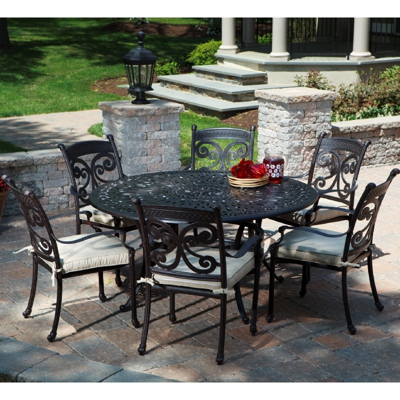 farfalla cast aluminum patio dining set round 7 piece al