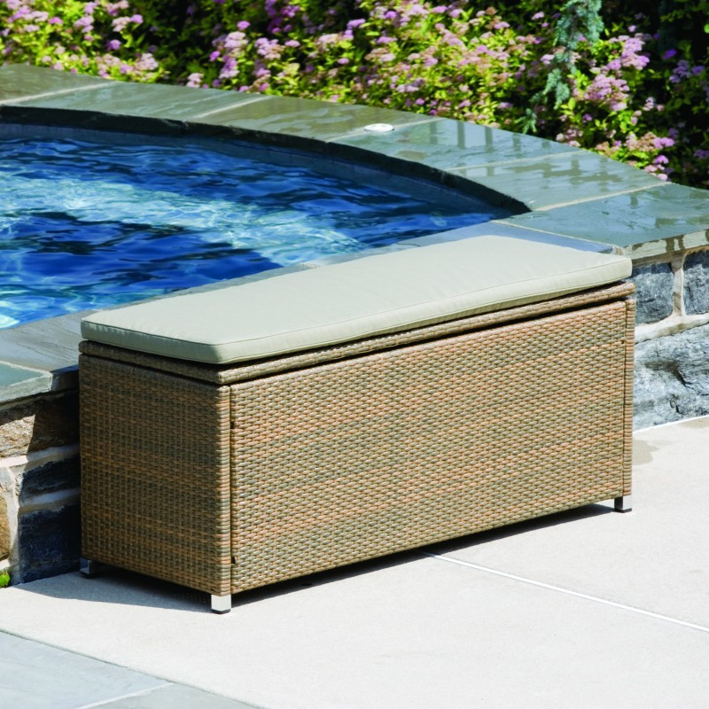 Sabbia outdoor wicker storage bench al 44 0418 Storage bench outdoor