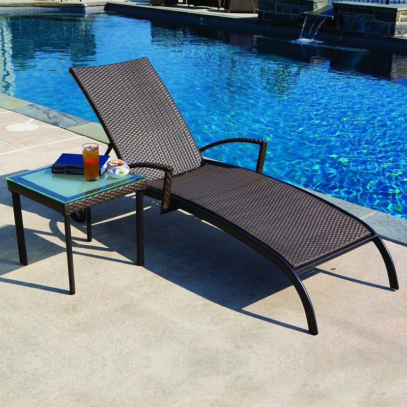 Alfresco vento all weather wicker patio chaise lounge al for All weather chaise lounge