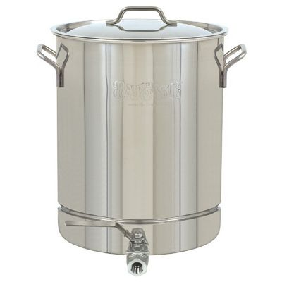 Spigot Stockpot & Lid - 32 Qt - 8 Gal. Stainless Steel BY1032